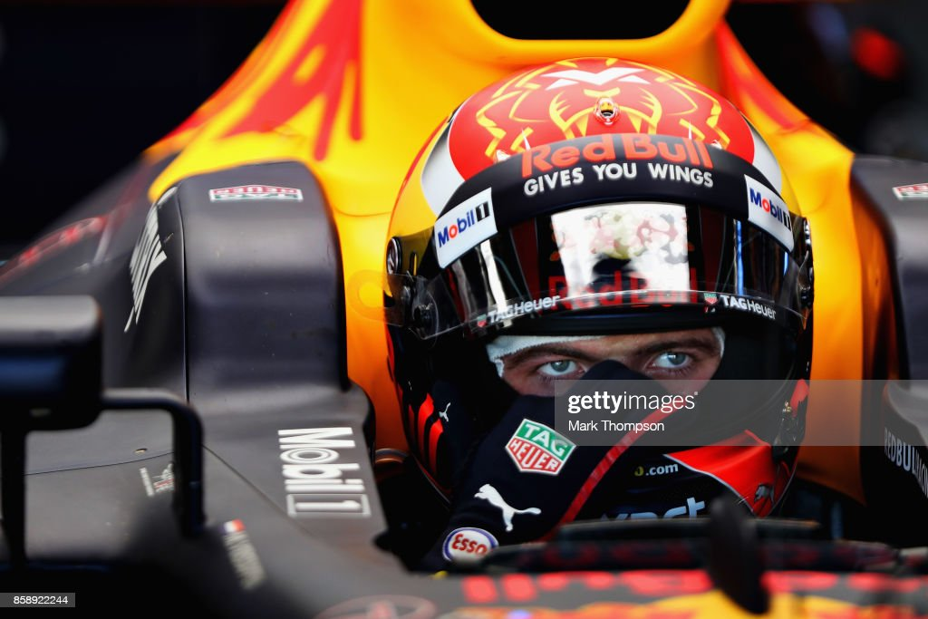 Max Verstappen of Netherlands and Red Bull Racing prepares to drive in the garage before the Formula One Grand Prix of Japan at Suzuka Circuit on October 8, 2017 in Suzuka.