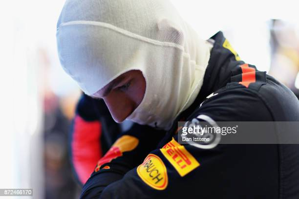 Max Verstappen of Netherlands and Red Bull Racing prepares to drive in the garage during practice for the Formula One Grand Prix of Brazil at...