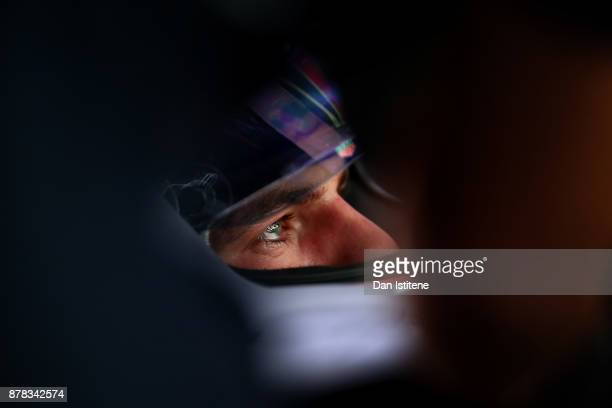 Max Verstappen of Netherlands and Red Bull Racing prepares to drive in the garage during practice for the Abu Dhabi Formula One Grand Prix at Yas...