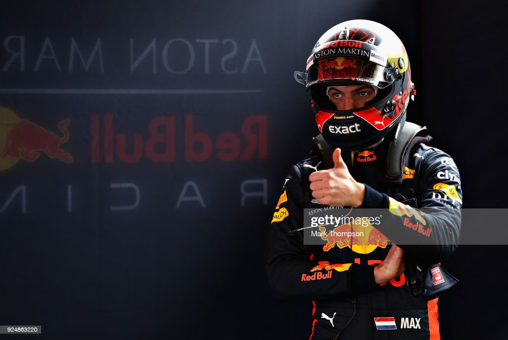 Max Verstappen of Netherlands and Red Bull Racing prepares to drive in the garage during day two of F1 Winter Testing at Circuit de Catalunya on February 27, 2018 in Montmelo, Spain.