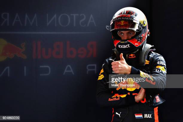 Max Verstappen of Netherlands and Red Bull Racing prepares to drive in the garage during day two of F1 Winter Testing at Circuit de Catalunya on...