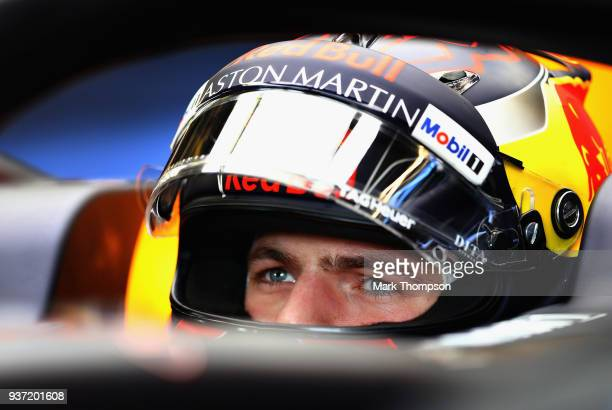 Max Verstappen of Netherlands and Red Bull Racing prepares to drive in the garage during final practice for the Australian Formula One Grand Prix at...