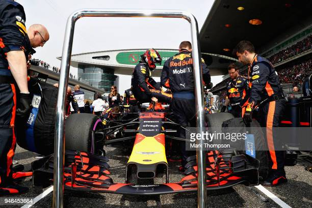 Max Verstappen of Netherlands and Red Bull Racing prepares to drive on the grid before the Formula One Grand Prix of China at Shanghai International...