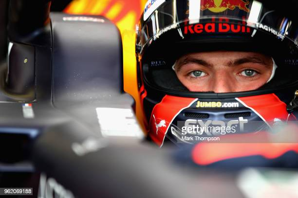 Max Verstappen of Netherlands and Red Bull Racing prepares to drive in the garage during practice for the Monaco Formula One Grand Prix at Circuit de...