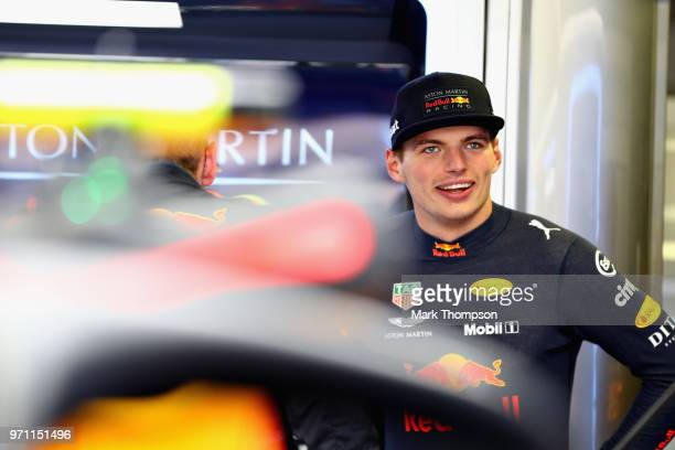 Max Verstappen of Netherlands and Red Bull Racing prepares to drive in the garage before the Canadian Formula One Grand Prix at Circuit Gilles...