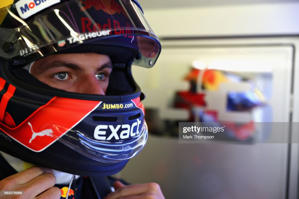 Max Verstappen of Netherlands and Red Bull Racing prepares to drive during qualifying for the Formula One Grand Prix of Great Britain at Silverstone on July 7, 2018 in Northampton, England.