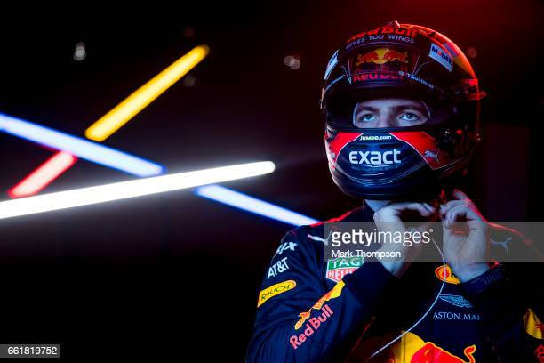 Max Verstappen of Netherlands and Red Bull Racing puts his helmet on during Formula One winter testing at Circuit de Catalunya on March 12 2017 in...