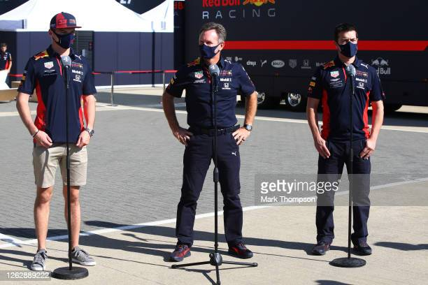 Max Verstappen of Netherlands and Red Bull Racing, Red Bull Racing Team Principal Christian Horner and Phil Turner of Red Bull Racing talk to the...