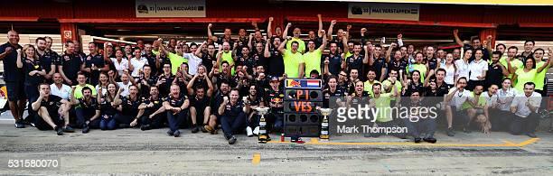 Max Verstappen of Netherlands and Red Bull Racing Red Bull Racing Team Principal Christian Horner Daniel Ricciardo of Australia and Red Bull Racing...