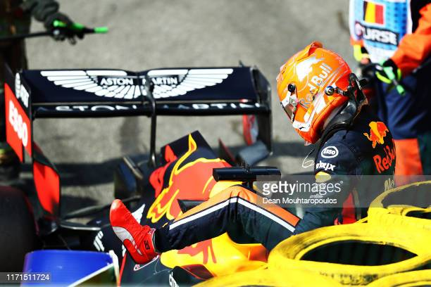 Max Verstappen of Netherlands and Red Bull Racing retires from the F1 Grand Prix of Belgium at Circuit de Spa-Francorchamps on September 01, 2019 in...