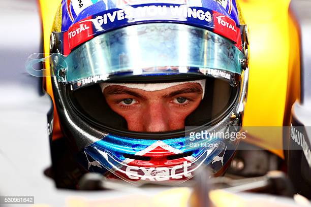 Max Verstappen of Netherlands and Red Bull Racing sits in his car in the garage during previews to the Spanish Formula One Grand Prix at Circuit de...