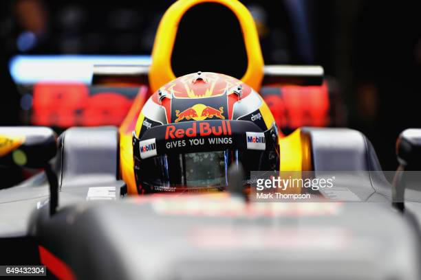 Max Verstappen of Netherlands and Red Bull Racing sits in his car in the garage during day two of Formula One winter testing at Circuit de Catalunya...