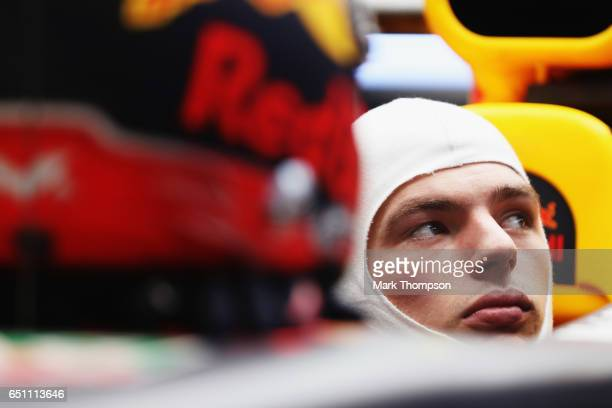 Max Verstappen of Netherlands and Red Bull Racing sits in his car in the garage during the final day of Formula One winter testing at Circuit de...
