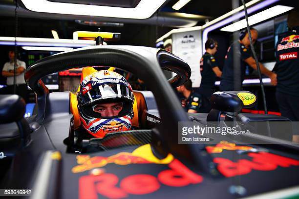Max Verstappen of Netherlands and Red Bull Racing sits in his car fitted with the halo during practice for the Formula One Grand Prix of Italy at...