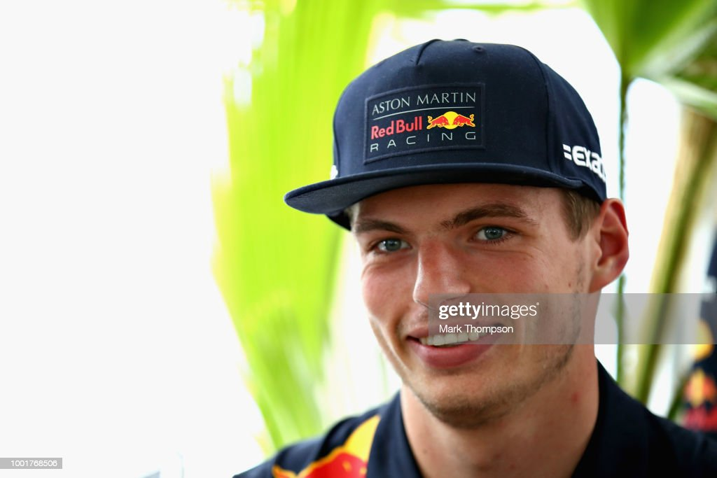 Max Verstappen of Netherlands and Red Bull Racing talks to the media during previews ahead of the Formula One Grand Prix of Germany at Hockenheimring on July 19, 2018 in Hockenheim, Germany.