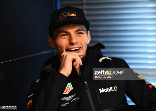 Max Verstappen of Netherlands and Red Bull Racing talks to the media during day three of F1 Winter Testing at Circuit de Catalunya on February 28...