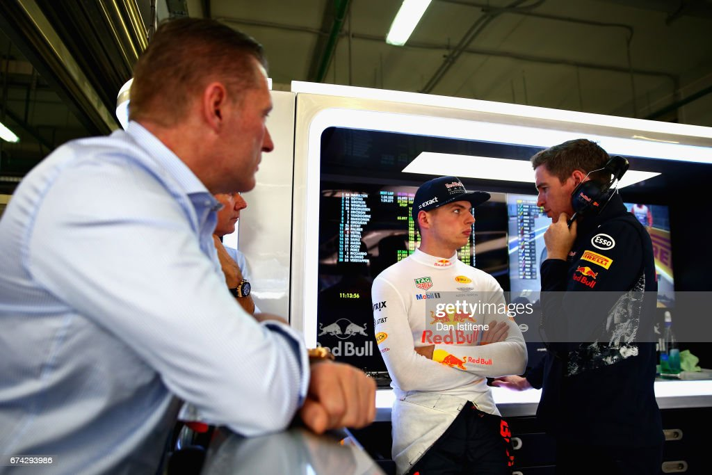 Max Verstappen of Netherlands and Red Bull Racing talks with a Red Bull Racing team member as his father, Jos Verstappen, looks on during practice for the Formula One Grand Prix of Russia on April 28, 2017 in Sochi, Russia.