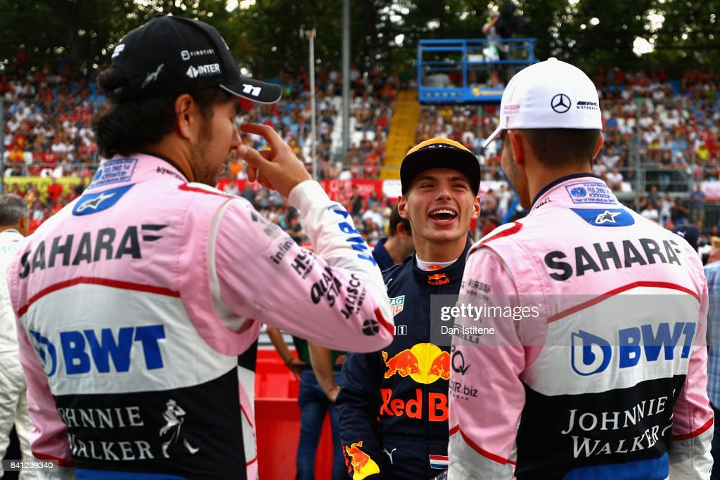 Max Verstappen of Netherlands and Red Bull Racing talks with Esteban Ocon of France and Force India and Sergio Perez of Mexico and Force India at a karting event during previews for the Formula One Grand Prix of Italy at Autodromo di Monza on August 31, 2017 in Monza, Italy.