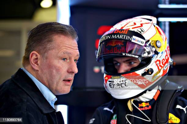 Max Verstappen of Netherlands and Red Bull Racing talks with his father Jos Verstappen in the garage during day three of F1 Winter Testing at Circuit...