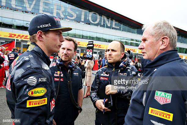 Max Verstappen of Netherlands and Red Bull Racing talks with race engineer Gianpiero Lambiase Red Bull Racing Team Principal Christian Horner and Red...