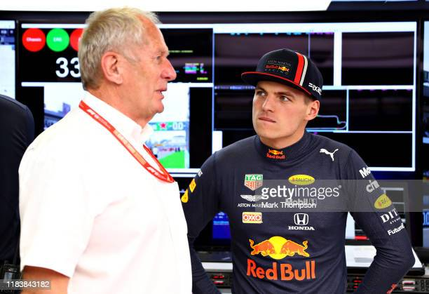 Max Verstappen of Netherlands and Red Bull Racing talks with Red Bull Racing Team Consultant Dr Helmut Marko in the garage before the F1 Grand Prix...