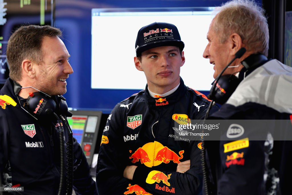 Max Verstappen of Netherlands and Red Bull Racing talks with Red Bull Racing Team Principal Christian Horner and Red Bull Racing Team Consultant Dr Helmut Marko in the garage during practice for the Formula One Grand Prix of China at Shanghai International Circuit on April 7, 2017 in Shanghai, China.