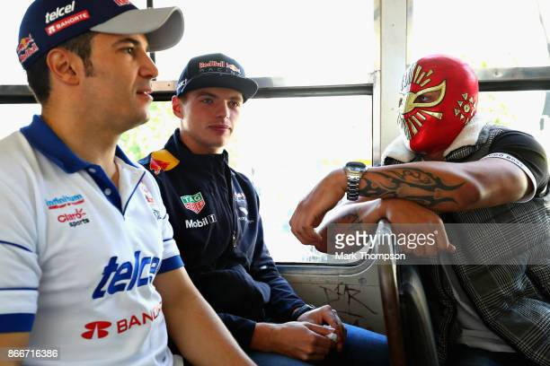 Max Verstappen of Netherlands and Red Bull Racing travels to the circuit on with a wrestler during previews to the Formula One Grand Prix of Mexico...