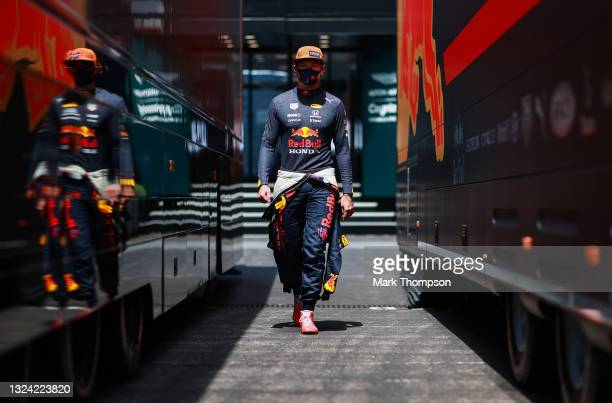 Max Verstappen of Netherlands and Red Bull Racing walks in the Paddock during practice ahead of the F1 Grand Prix of France at Circuit Paul Ricard on...