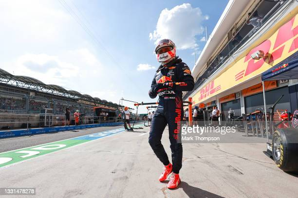 Max Verstappen of Netherlands and Red Bull Racing walks in the Pitlane during practice ahead of the F1 Grand Prix of Hungary at Hungaroring on July...