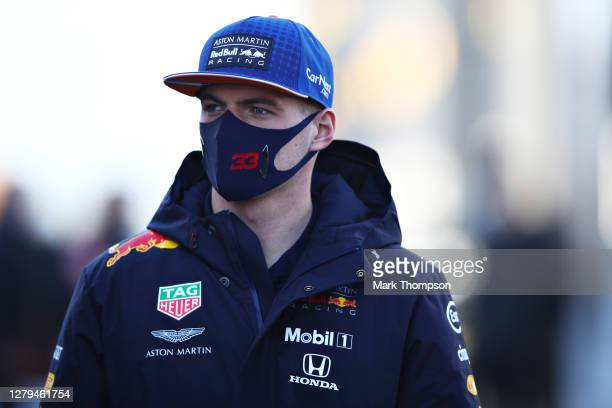 Max Verstappen of Netherlands and Red Bull Racing walks in the Paddock before final practice ahead of the F1 Eifel Grand Prix at Nuerburgring on...