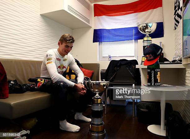 Max Verstappen of Netherlands and Red Bull Racing with his trophy after winning his first F1 race during the Spanish Formula One Grand Prix at...