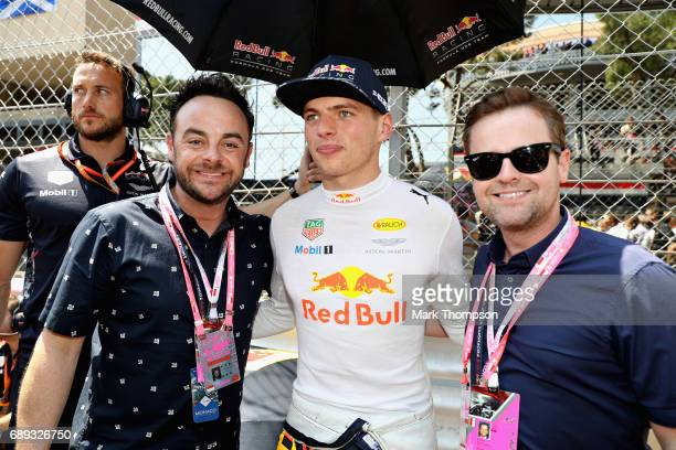 Max Verstappen of Netherlands and Red Bull Racing with TV stars Ant and Dec during the Monaco Formula One Grand Prix at Circuit de Monaco on May 28...