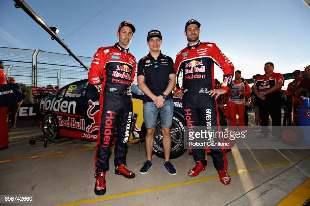 Max Verstappen of Netherlands and Red Bull Racing with V8 Supercar drivers Shane Van Gisbergen of New Zealand and Jamie Whincup of Australia during...