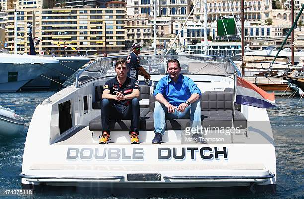 Max Verstappen of Netherlands and Scuderia Toro Rosso and his father Jos Verstappen are seen on a boat in the harbour during previews to the Monaco...
