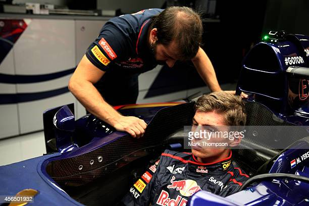 Max Verstappen of Netherlands and Scuderia Toro Rosso attends a seat fitting ahead of the Japanese Formula One Grand Prix at Suzuka Circuit on...