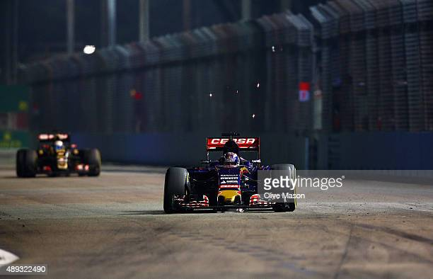 Max Verstappen of Netherlands and Scuderia Toro Rosso drives aduring the Formula One Grand Prix of Singapore at Marina Bay Street Circuit on...