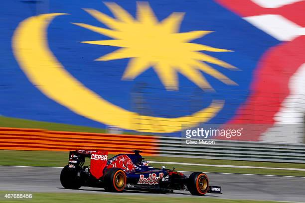 Max Verstappen of Netherlands and Scuderia Toro Rosso drives during practice for the Malaysia Formula One Grand Prix at Sepang Circuit on March 27...