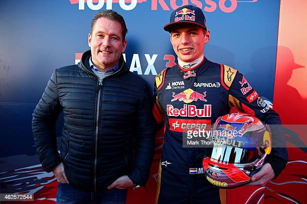 Max Verstappen of Netherlands and Scuderia Toro Rosso poses with his father Jos Verstappen after unveiling the new STR10 during previews ahead of...