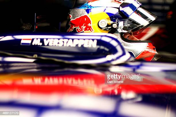 Max Verstappen of Netherlands and Scuderia Toro Rosso sits in his car in the garage during practice for the Formula One Grand Prix of China at...