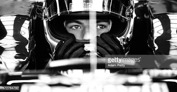 Max Verstappen of Netherlands and Scuderia Toro Rosso sits in his car in the garage during final practice for the Spanish Formula One Grand Prix at...