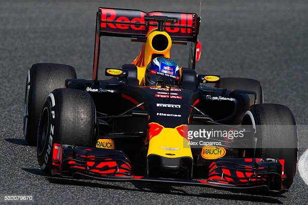 Max Verstappen of Netherlands drives the Red Bull Racing Red BullTAG Heuer RB12 TAG Heuer during day two of F1 inseason tests at Circuit de Catalunya...