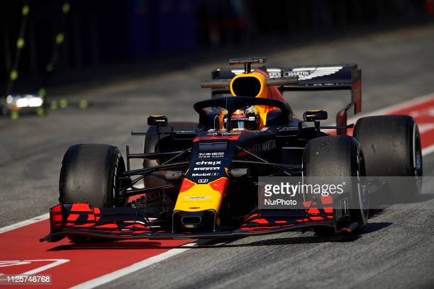 Max Verstappen of Netherlands driving the Aston Martin Red Bull Racing RB15 during day one of F1 Winter Testing at Circuit de Catalunya on February...