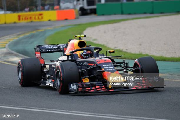 Max Verstappen of Red Bull competes during the qualification lap of the Australian Formula One Grand Prix at Melbourne Grand Prix Circuit in...
