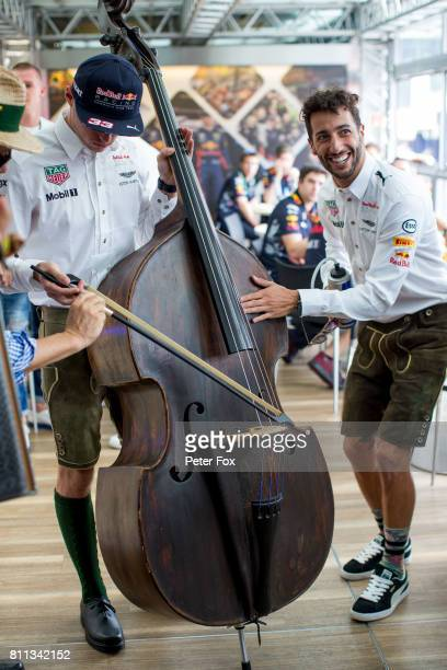 Max Verstappen of Red Bull Racing and The Netherlands and Daniel Ricciardo of Australia and Red Bull Racing during the Formula One Grand Prix of...