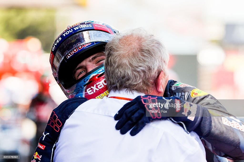 Max Verstappen of Red Bull Racing and The Netherlands celebrates winning with Red Bull Racing's Motorsport Consultant Helmut Marko of Austria during the Spanish Formula One Grand Prix at Circuit de Catalunya on May 15, 2016 in Montmelo, Spain.