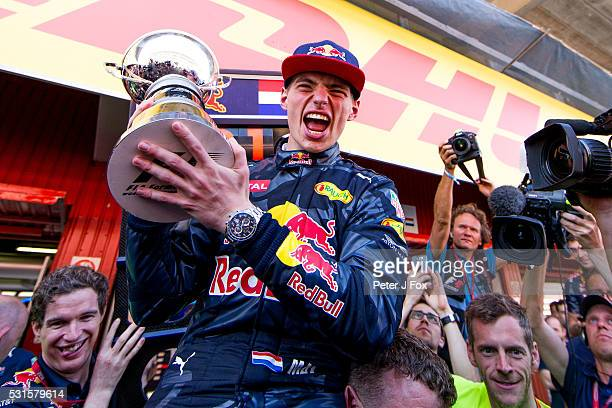 Max Verstappen of Red Bull Racing and The Netherlands celebrates winning the Spanish Formula One Grand Prix at Circuit de Catalunya on May 15 2016 in...