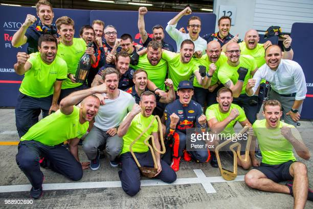 Max Verstappen of Red Bull Racing and The Netherlands celebrates with his crew during the Formula One Grand Prix of Austria at Red Bull Ring on July...