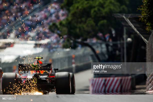 Max Verstappen of Red Bull Racing and The Netherlands during practice for the Monaco Formula One Grand Prix at Circuit de Monaco on May 24, 2018 in...
