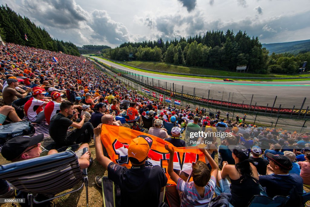 Max Verstappen of Red Bull Racing and The Netherlands during the Formula One Grand Prix of Belgium at Circuit de Spa-Francorchamps on August 27, 2017 in Spa, Belgium.
