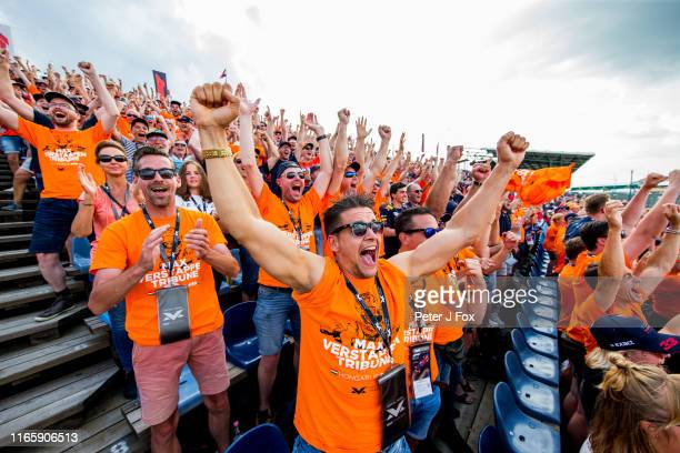 Max Verstappen of Red Bull Racing and The Netherlands Fans during qualifying for the F1 Grand Prix of Hungary at Hungaroring on August 03 2019 in...